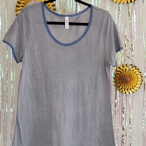 Lularoe Perfect T Grey with blue, size M